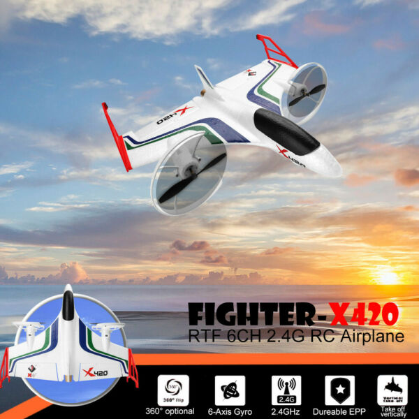 XK X420 2.4G 6CH 3D6G Aerobatic Vertical Take-Off And EPP RC Airplane RTF US