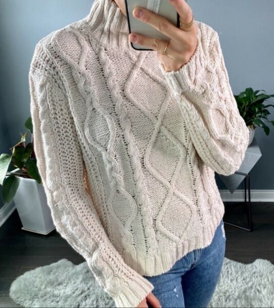 NEW Ivory Chunky Cable Knit Sweater Ribbed High Mock Neck