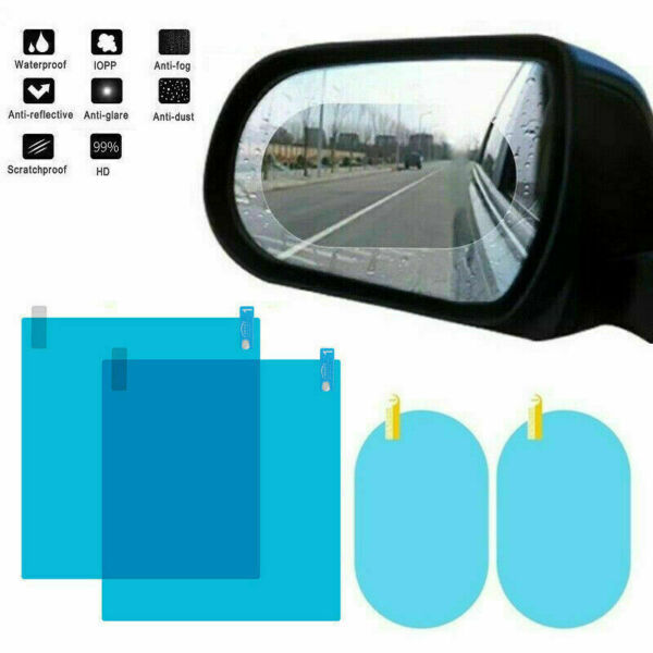 4x Car Rearview Mirror Glass Film Waterproof Anti-Fog Rain-Proof Window Membrane