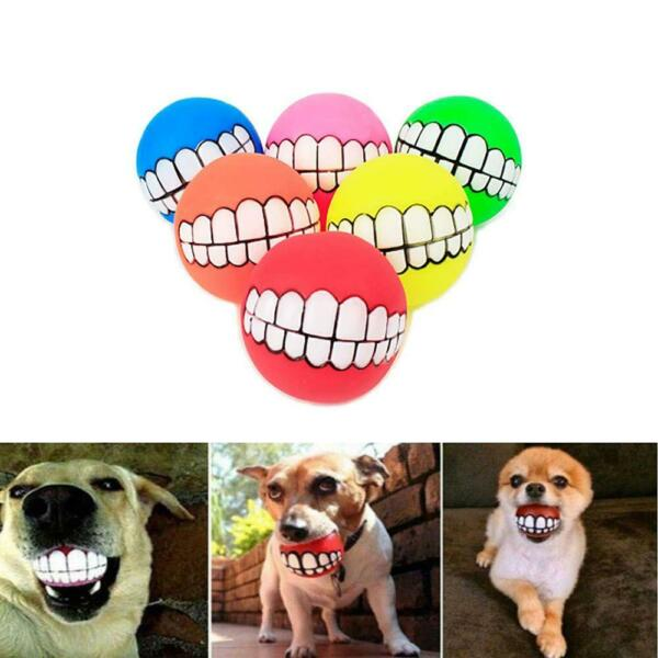 Funny Pet Dog Ball Teeth Silicon Play Toy Chew Squeaker Squeaky Sound for Dogs