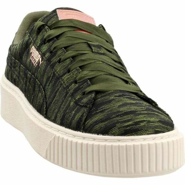 Puma Basket Platform Velvet Rope Sneakers Casual   Sneakers Green Womens - Size