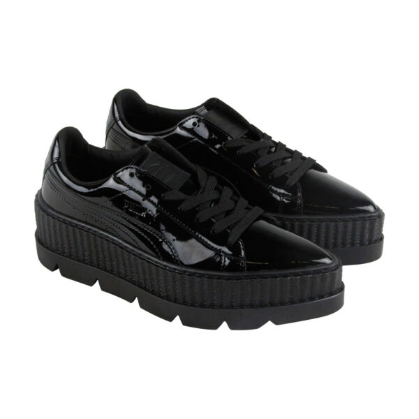 Puma Pointy Creeper Patent Wns Womens Black Casual Lace Up Sneakers Shoes