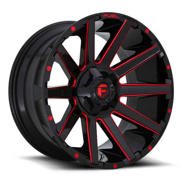 (4) 24x12 Fuel Gloss Black & Red Contra Wheel 6X135 6X139.7 Ford Toyota Jeep