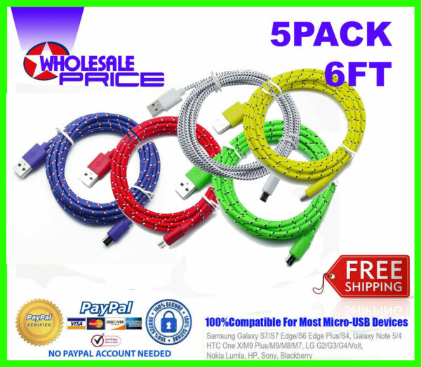 5-PACK 6Ft Micro USB Fast Charger Data Sync Cable Cord Samsung Android HTC LG
