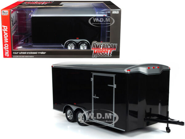 FOUR WHEEL ENCLOSED TRAILER BLACK WSILVER TOP 118 MODEL BY AUTOWORLD AMM1217