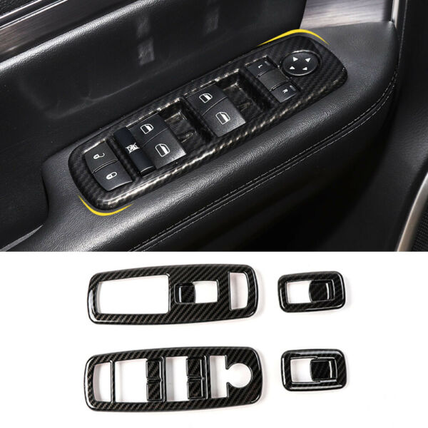 Carbon Fiber Window Lift Switch Panel Cover Trims Bezels for Dodge Charger 2011 $18.44
