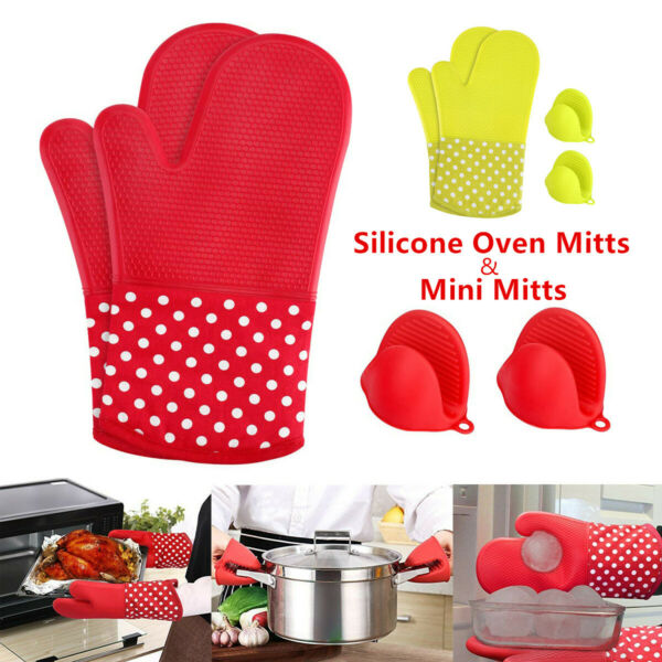 Pairs Heat Resistant Silicone Oven Mitts Gloves Grip Kitchen BBQ Oven Pot Holder