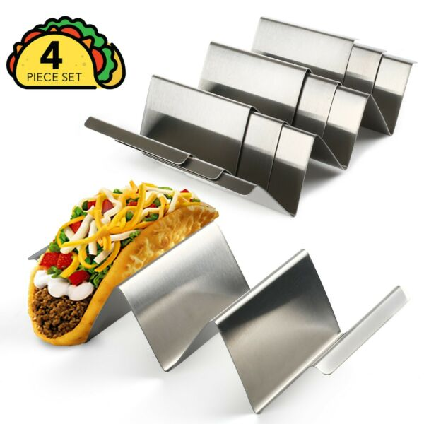 4 Pack Stainless Steel Taco Holder Stand Safe Rack Tray for Dishwasher Oven Save $15.99