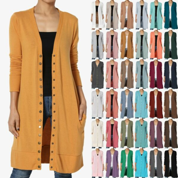 TheMogan S~3X  Classic Snap Button Front V-Neck Long Sleeve Knit Long Cardigan