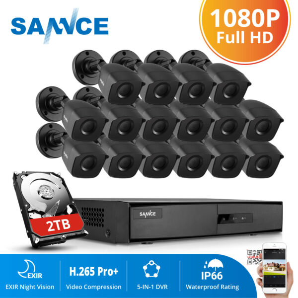 SANNCE 16CH 1080N DVR 2MP Outdoor Home Surveillance Security Camera System NO 2T