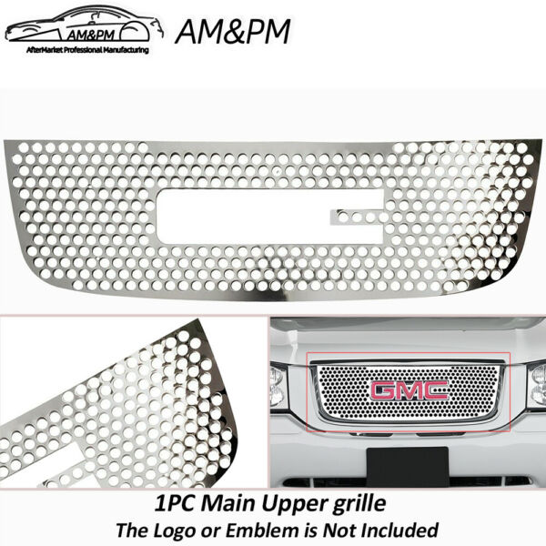 Fits 2001 2009 GMC Envoy Upper Stainless Round Holes Laser Cut Grille Insert 1pc