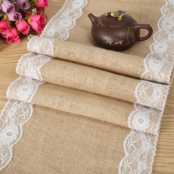 51020 Rustic Burlap Hessian Lace Floral Table Runner Wedding Party Home Decor