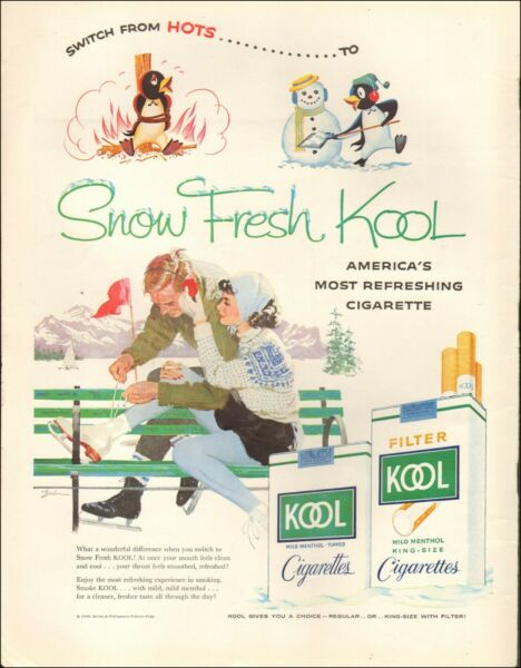 1958 Vintage ad for Kool Cigarettes`Tobacco Ice Skates Art Snow (011420)