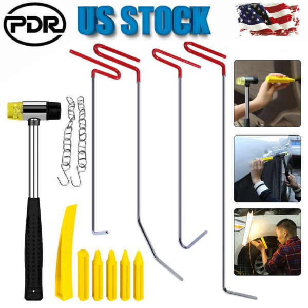 11pcs Car Paintless Dent Repair Tools Auto Body Dent Puller Rods Damage Removal