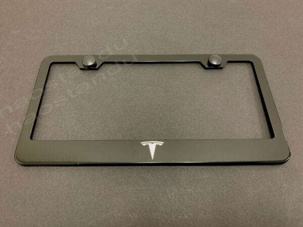 1xTESLA BLACK Stainless Metal License Plate Frame Screw Caps LOGO