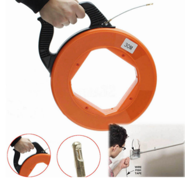 Fiberglass Fish Tape Reel Puller Conduit Ducting Rodder Wire Cable 4mm*30m US $25.99