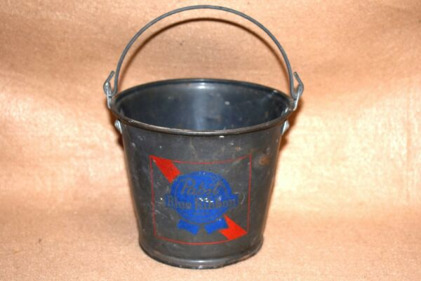 Vtg PBR Pabst Blue Ribbon Metal Beer Drinking Pail Bucket wWire Bail Handle