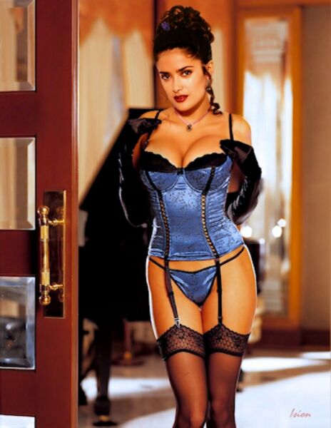 Salma Hayek Sexy Blue Lingerie  8x10 Picture Celebrity Print