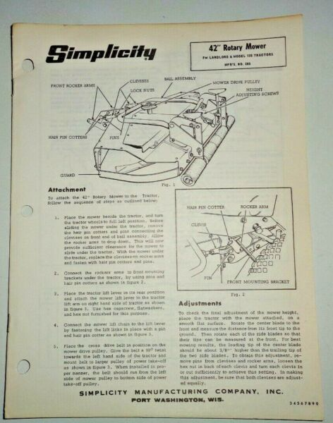 Simplicity 285 42quot; ROTARY MOWER Owners Parts Manual fits Landlord amp; 725 Tractors