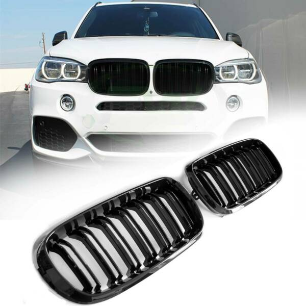 Double Dual Line Fin Slat Grill for BMW X5 X6 F15 F16 2015-2017 Gloss Black