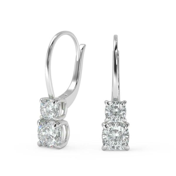 3.22 Ct Cushion Cut 6 Prong Stacked Diamond Earrings SI1 G Leverback White Gold