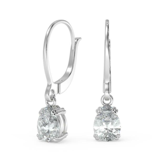 3.22 Ct Pear Cut Double Prong Diamond Earrings SI1 G Leverback White Gold 18k