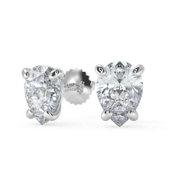 3.72 Ct Pear Cut Stud Diamond Earrings SI1 D Screw Back White Gold 18k