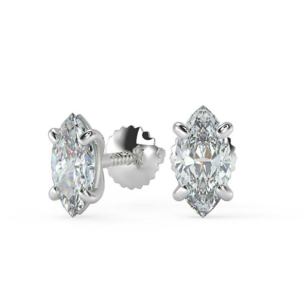 3.74 Ct Marquise Cut Stud Diamond Earrings SI1 D Screw Back White Gold 18k