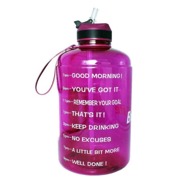 QuiFit 1 Gallon Water Bottle With Straw Motivational Time Marker Easy Sipping
