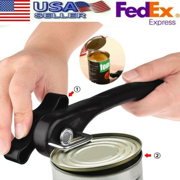 Manual Bottle Tin Can Opener Safe Cut Lid Cover Smooth Edge Side Stainless Steel