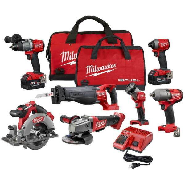 Milwaukee FUEL M18 2997-27 18-Volt 7-Tool DrillDriverGrinderSawsWrench Combo
