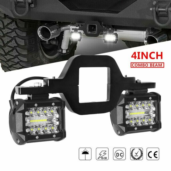 Trailer Tow Hitch Mounting Bracket with 4inch LED Work Backup Reverse Light Pods $29.99