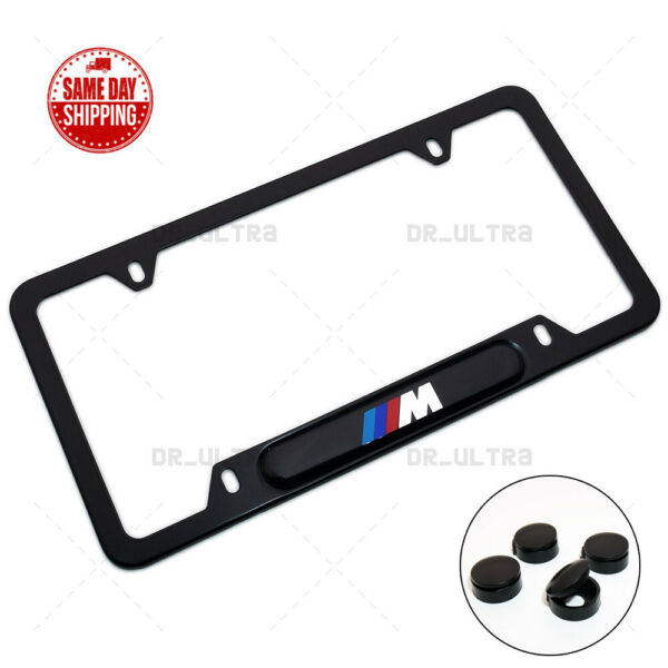 For BMW M Power Sport Front Rear License Frame Plate Cover Stainless Steel Black $17.99