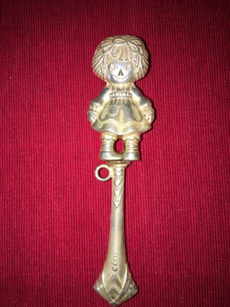 Baby Rattle Sterling Silver antique Raggedy Ann