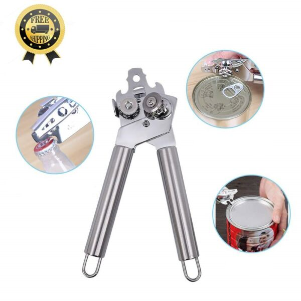 Can Opener is by Food Safety Stainless Steel 3 in 1 Manual Tin Cap Bottle Opener