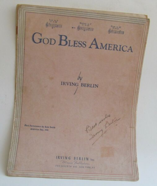Irving Berlin Autograph on God Bless America  Signed in INK