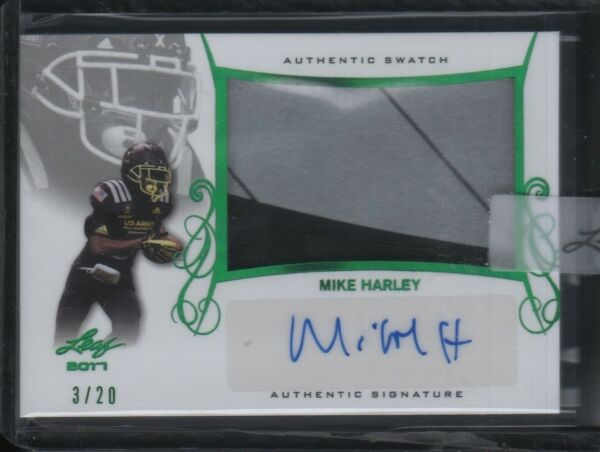 2017 Mike Harley Leaf Army All American Bowl Green Auto Autograph Patch 3 20 $9.59
