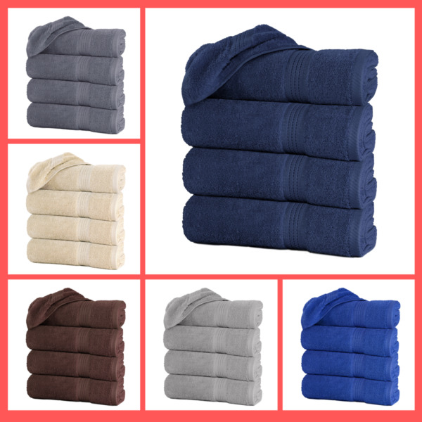 Set of 4 Large Bath Towel Sheets 100% Cotton 27quot;x55quot; 500 GSM Highly Absorbent