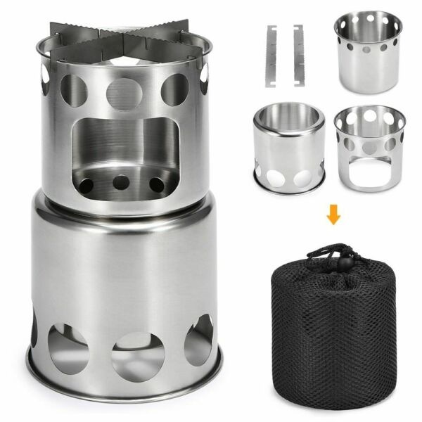 Camping Wood Stove Cooking Pot Portable Outdoor Cook Picnic Hiking Cookware Bowl $24.99