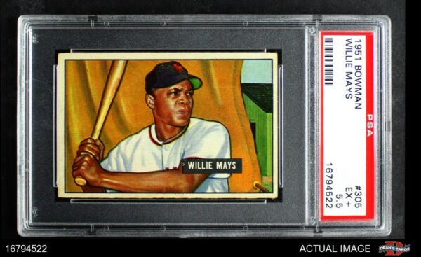 1951 Bowman #305 Willie Mays Giants PSA 5.5 - EX+