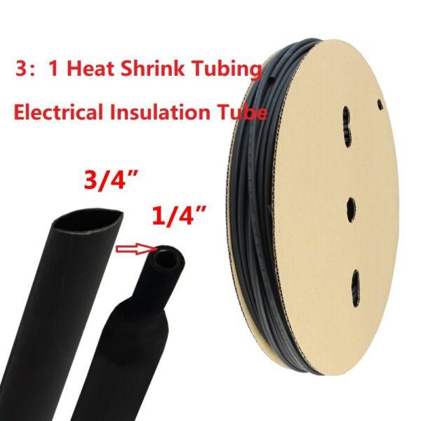 3 4quot; Polyolefin 3:1 Heat Shrink Tubing Electrical insulation Tube Dual Wall 10ft $14.99