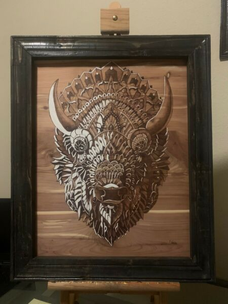 pyrography art Tribal Buffalo Head Wood Burned Art Handmade Nature Art