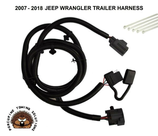 07 18 WRANGLER TRAILER WIRING wire HARNESS hitch 4 way towing adapter connector $19.99