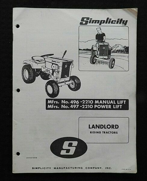 1969 SIMPLICITY quot;LANDLORD 2210 MANUAL amp; POWER LIFT TRACTORquot; OWNERS PARTS MANUAL