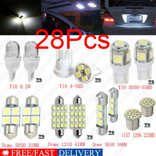 28Pcs Auto Car Interior LED Light Dome License Plate Mixed Lamp Set Accessories~