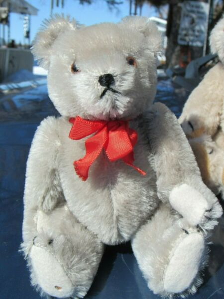 VINTAGE TEDDY BEAR SILVER GRAY MOHAIR SMALL 8