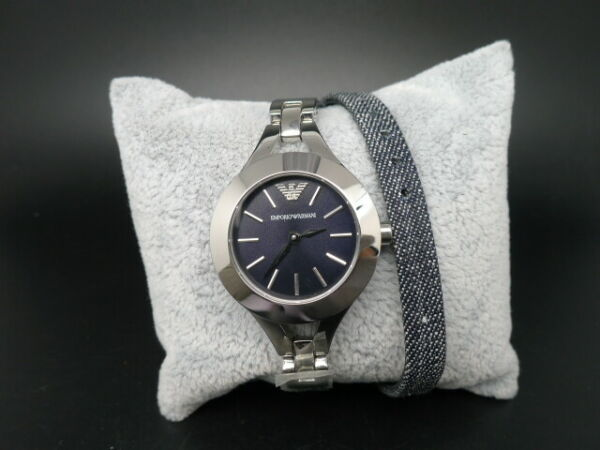 NEW OLD STOCK EMPORIO ARMANI AR7348 LONG SYTLE LEATHER STRAP QUARTZ WOMEN WATCH