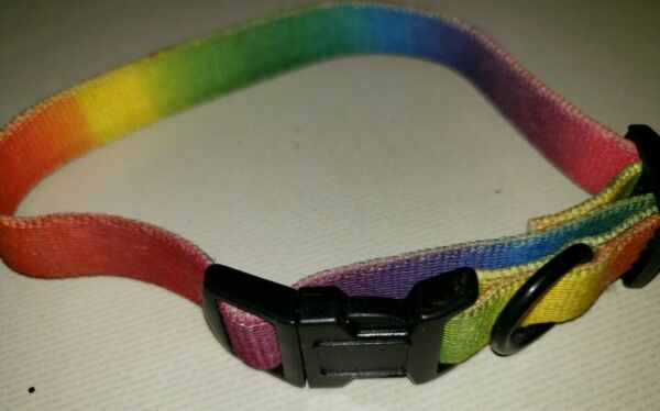 13 inch PUPPY DOG rainbow colored COLLAR adjustable canine pet CUTE @@ $3.19