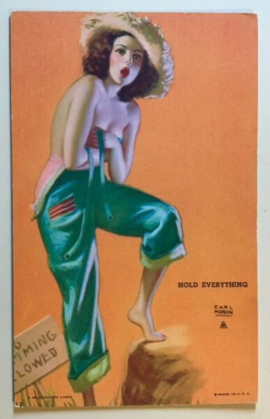 Mutoscope Pin up Arcade card Vintage 1940's Hold Everything
