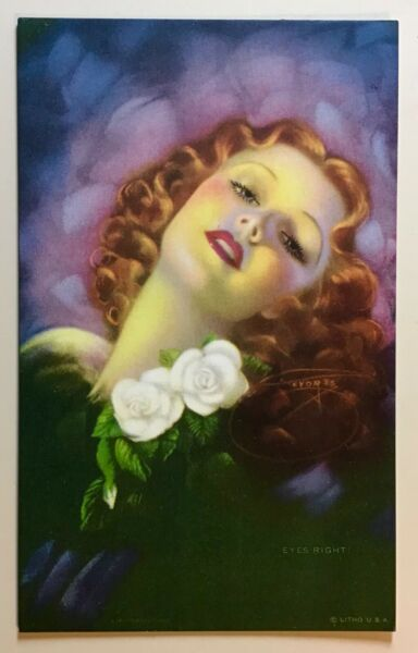 Mutoscope Pin up Arcade card Vintage 1940's Eyes Right